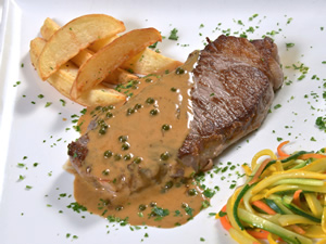 Steak in Green Peppercorn Sauce